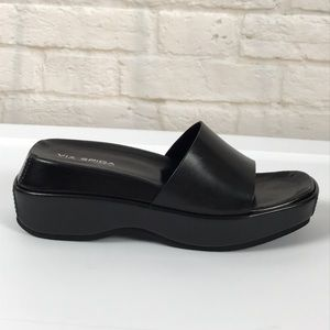 VIA SPIGA Black Leather Slide Sandals